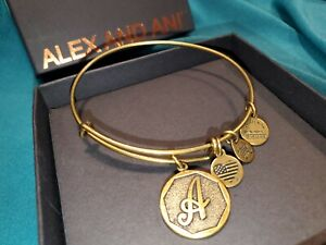 Alex And Ani Initials Collection Bracelet brushed Gold Color...4 charms letter A