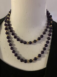 "14K Ribbed Beads + 8mm Genuine Amethyst Gemstone Bead Strand 37"" Necklace Estate"