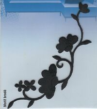 BLACK FLOWER SHOOT IRON ON APPLIQUE MOTIF PATCH, BRAND NEW