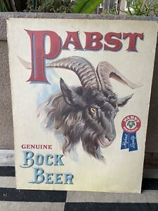 """PABST BOCK BEER SIGN POSTER GOAT PBR BLUE RIBBON Stand Up Display Board 22""""x28"""""""
