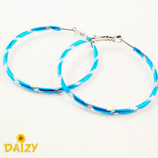 BLUE HOOP EARRINGS SMALL HOOP EARRINGS SILVER HOOP EARRINGS BLUE HOOPS ROUND