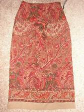 New $40 BRIGGS NEW YORK Washable Long Pencil Skirt Brown Paisley Red Womens 8