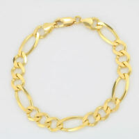 "10K Yellow Gold Solid 9mm WIDE Figaro Chain Bracelet Link Lobster Clasp 8"" 8in"