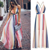 Women's Sexy Boho Dress Maxi Cocktail Summer Backless Party Long Beach Sundress