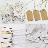 Lots 100Pcs White Jewelry Price Label Tags Blank Kraft Paper With Elastic String