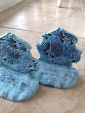 """turquoise colored brass sailboat  bookends approx 6"""" distressed beach motif"""