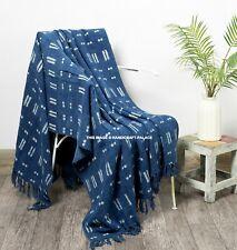 Mudcloth sofa throw, indigo cotton throw, throws for sofas, throw blanket Indian