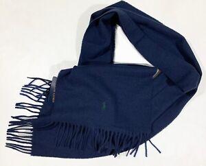 Men's POLO RALPH LAUREN Navy Blue Fringed Wool Logo Scarf Muffler NWT NEW NiCe!