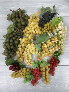 Big Lot Of 12 Vtg Rubber Grapes Clusters Artificial Decorative Staging Crafts #4