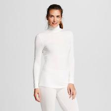 Warm Essentials by Cuddl Duds, Womens Long Sleeve Turtleneck, White, XXL