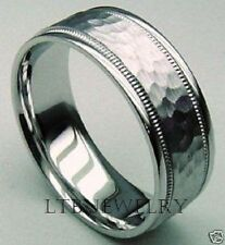 HAMMERED 7.5MM 10K WHITE GOLD MENS WEDDING BANDS RINGS
