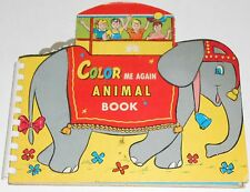 1957 COLOR ME AGAIN ANIMAL BOOK shaped novelty book