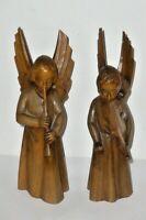 2 Intagliato Holzengel Figure di Legno Musicista Angelo 23cm
