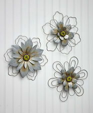 Wire Set of 3 Rustic Hanging Flowers Nature Metal Wall Art