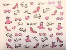 Nail art stickers autocollants ongles saint valentin motifs coeurs love robes