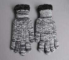 Black White lined gloves faux fur knit stretch gloves winter super warm ladies