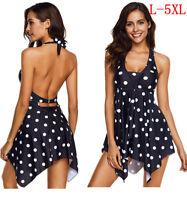 Women Swimwear Tankini Swimdress Hem Halter Panty Beachwear Plus Size Backless