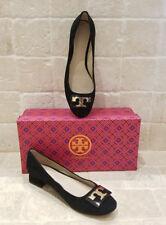 074502423 New TORY BURCH Gigi Block Heels Suede Pumps Shoes Flats 6 6.5 Black