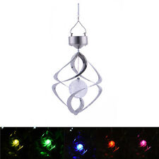 Solar Color Changing Wind Chime Spinner LED Light Yard Decoration Lamp Post Cap