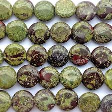 Dragon Blood Jasper Quartz 14mm Round Coin Semi Precious Stone Beads Q1 Strand