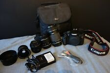 Canon Eos Rebel t3i EF-S, 18MP 18-55, 50, 55-250 IS lens+fisheye+case+batteries