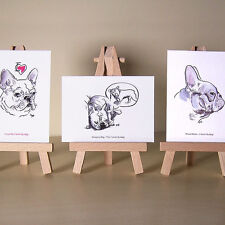 3 French Bulldog drawings cute Frenchies ACEO art cards
