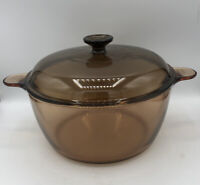 Vintage CORNING WARE VISION 4.5L DUTCH OVEN/STOCK POT With LID; Amber,  5qt, USA
