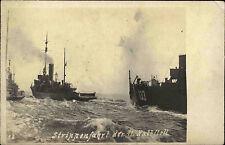 Seefahrt Schiffe Reichsmarine ~1940 Echtfoto-AK Strippenfahrt 11. Halbflottille