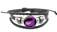 Glass Domed Braided Leather Bracelet Alice in The Wonderland Cheshire Cat