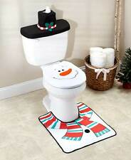 Whimsical Snowman 3-Pc Holiday Toilet Lid & Rug Set Winter Decor Commode Set