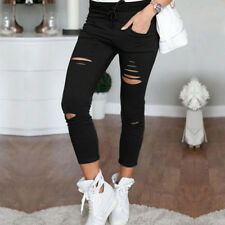 Women Skin Faded Ripped Hole Jeans Pants High Waist Stretch Slim Pencil Trousers