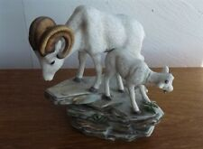 Homco/Home Interior Masterpiece Mountain Rams Mother & Baby on Ledge Signed 1984