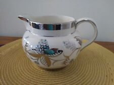 Arthur Wood made in England Pitcher Jug Silver and Blue Floral Decoration S83