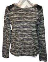 Banana Republic Tweed Black Gray Long Sleeve Sweater Womens Size Medium