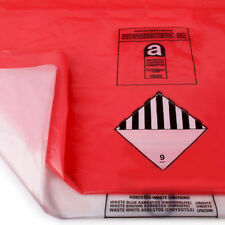 HEAVY DUTY ASBESTOS DISPOSAL BAGS 8 X RED & WHITE HOLDS 30KG 900MM X 1200MM