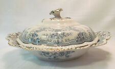 John Maddock & Sons BOMBAY Blue-Green Antique Oval Covered Serving Bowl REDUCED!