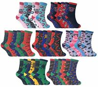 6 Pack Kids Boys Girls Colourful Novelty Funky Patterned Ankle Cotton Rich Socks