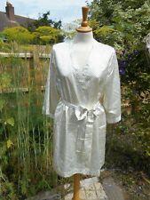 Ivory ESMARA Lingerie Polka Dot Robe Gown Size L 18/20 BNWT Soft Silk Satin Feel