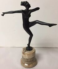 VTG DECO BLACK COLD PAINTED BRONZE DANCING LADY GIRL SIGNED JOSEF LORENZL