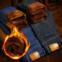 Mens Winter Thick Thermal Fleece Lined Denim Pants Straight Leg Jeans Trousers