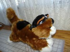 """2005 Official Harley Davidson Plush 11"""" long CALICO CAT with Hat EUC"""