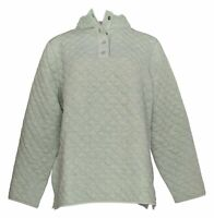 Denim & Co. Women's Top Sz L Active Quilted Jersey Henley Green A388249