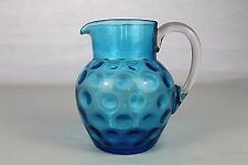 LARGE VICTORIAN COIN DOT BLUE GLASS JUG PITCHER TWO PINT SIZE 17cm tall