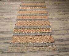 Handmade Cotton Block Print Area Rug Flat Woven Home Decorative 3'x6'9'' DN-2109