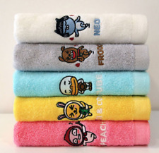 Kakao Friends Face Embroidery Towels Washcloths 5 Pcs Cotton 100% 150g