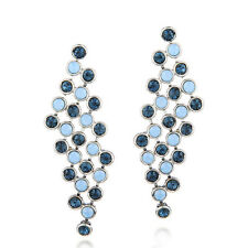 Made Using Swarovski Crystals Long Blue Art Deco Earrings $74 S12