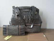Brahmin Rare Black Metallic Joy Croc Embossed Leather Purse w/Pocket Wallet EUC