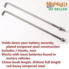 2pc-pack Battery J Style Hold Down Bolts 15mmL Hook 260mm Full Length Rod Clamp