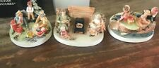 Vtg Sebastian Miniature set of 3 - America Remembers- Fish,read,picnic -in Box