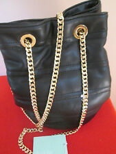 NWT Deux Lux BLACK w/Gold Chains Quilted NYC Satchel Shoulder Bag Crossbody Bag